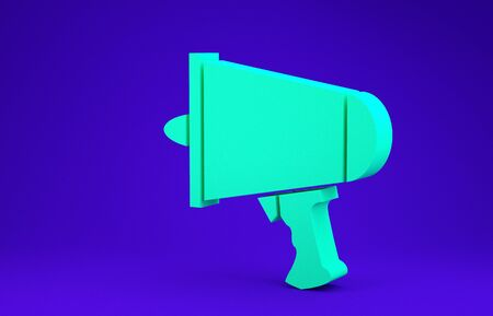 Green Spread the word, megaphone icon isolated on blue background. Minimalism concept. 3d illustration 3D render