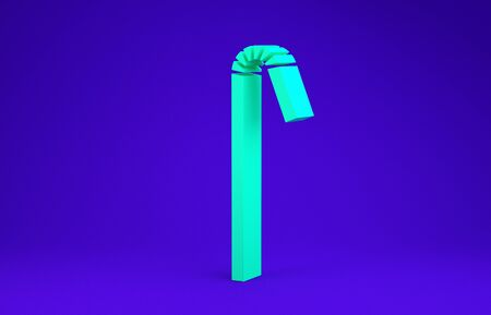 Green Drinking plastic straw icon isolated on blue background. Minimalism concept. 3d illustration 3D render