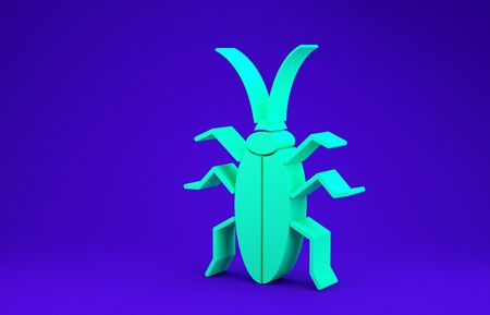 Green Cockroach icon isolated on blue background. Minimalism concept. 3d illustration 3D render