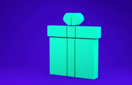 Green Gift box and heart icon isolated on blue background. Valentines day. Minimalism concept. 3d illustration 3D render