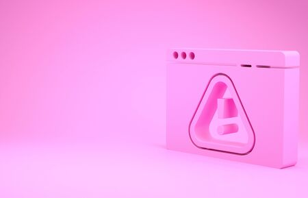 Pink Browser with exclamation mark icon isolated on pink background. Alert message smartphone notification. Minimalism concept. 3d illustration 3D render