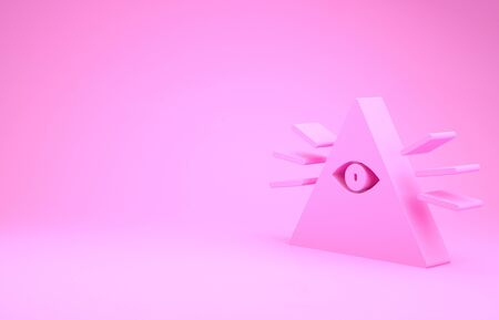 Pink Masons symbol All-seeing eye of God icon isolated on pink background. The eye of Providence in the triangle. Minimalism concept. 3d illustration 3D render