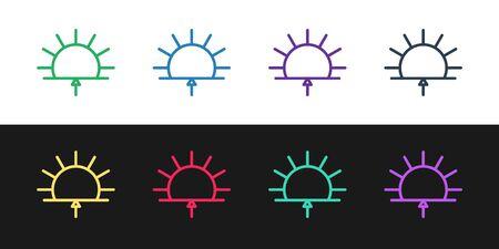 Set line Sunrise icon isolated on black and white background. Vector Illustration