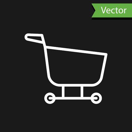 White line Shopping cart icon isolated on black background. Food store, supermarket. Vector Illustration