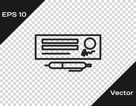 Black line Blank template of the bank check and pen icon isolated on transparent background. Checkbook cheque page with empty fields to fill. Vector Illustration Vectores
