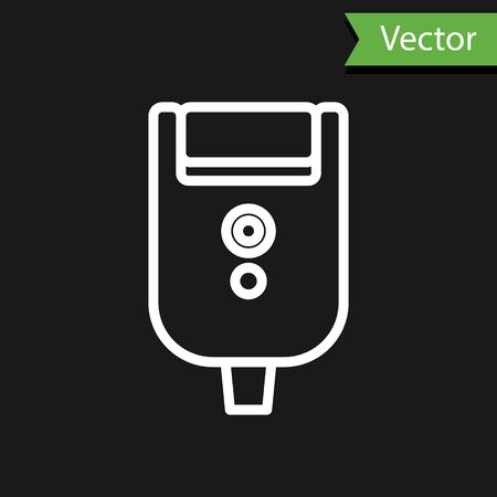 White line Electric razor blade for men icon isolated on black background. Electric shaver. Vector Illustration