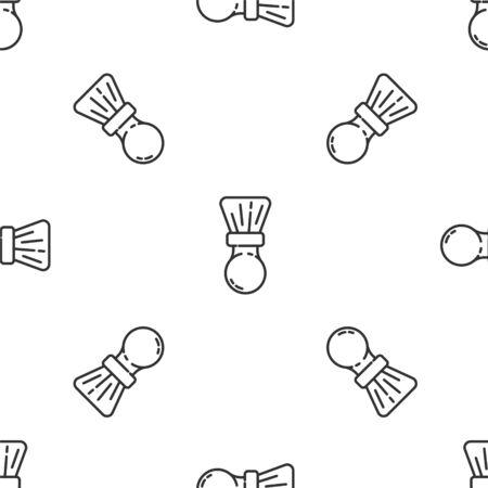 Grey line Shaving brush icon isolated seamless pattern on white background. Barbershop symbol. Vector Illustration