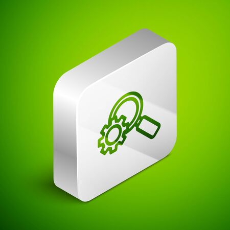 Isometric line Magnifying glass and gear icon isolated on green background. Search gear tool. Business analysis symbol. Silver square button. Vector Illustration