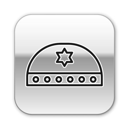 Black line Jewish kippah with star of david icon isolated on white background. Jewish yarmulke hat. Silver square button. Vector Illustration