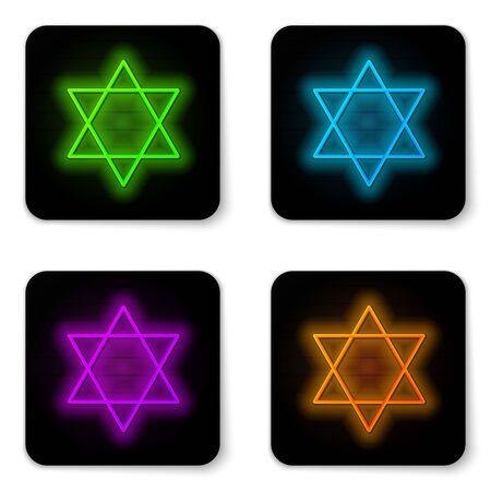 Glowing neon line Star of David icon isolated on white background. Jewish religion symbol. Symbol of Israel. Black square button. Vector Illustration Illustration