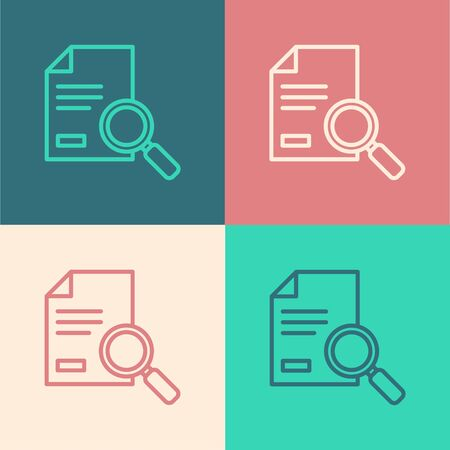 Pop art line Document with search icon isolated on color background. File and magnifying glass icon. Analytics research sign. Vector Illustration