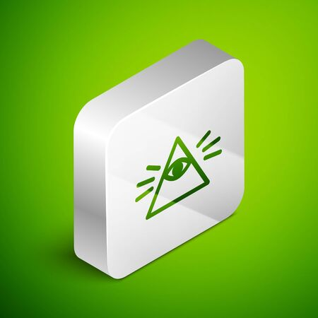 Isometric line Masons symbol All-seeing eye of God icon isolated on green background. The eye of Providence in the triangle. Silver square button. Vector Illustration