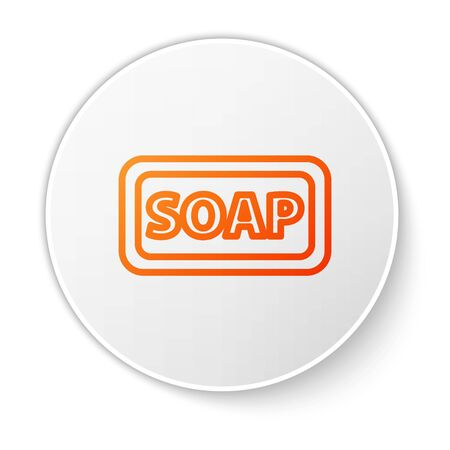 Orange line Bar of soap icon isolated on white background. Soap bar with bubbles. White circle button. Vector Illustration