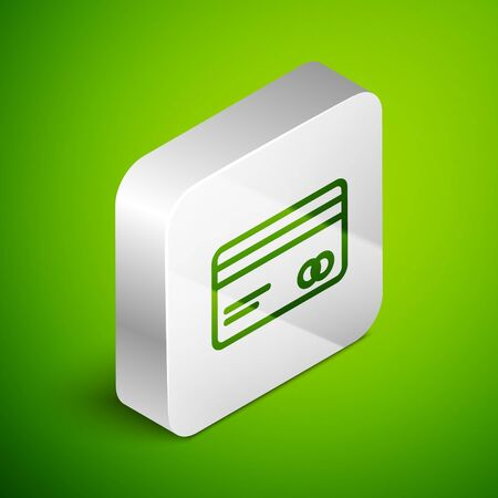 Isometric line Credit card icon isolated on green background. Online payment. Cash withdrawal. Financial operations. Shopping sign. Silver square button. Vector Illustration Vectores