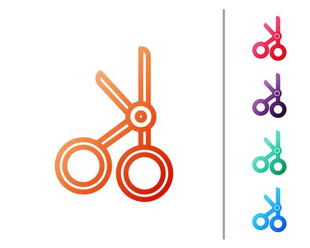 Red line Medical scissors icon isolated on white background. Set color icons. Vector Illustration