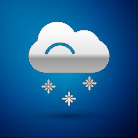 Silver Cloud with snow icon isolated on blue background. Cloud with snowflakes. Single weather icon. Snowing sign. Vector Illustration