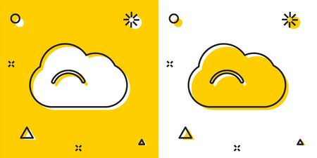 Black Cloud icon isolated on yellow and white background. Random dynamic shapes. Vector Illustration