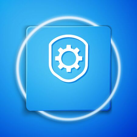White Shield with settings gear icon isolated on blue background. Adjusting, service, maintenance, repair, fixing. Blue square button. Vector Illustration