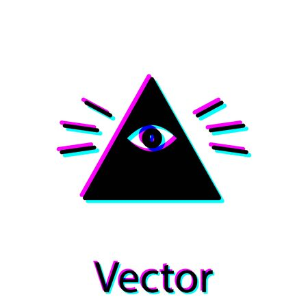 Black Masons symbol All-seeing eye of God icon isolated on white background. The eye of Providence in the triangle. Vector Illustration