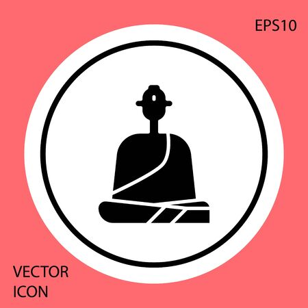 Black Buddhist monk in robes sitting in meditation icon isolated on red background. White circle button. Vector Illustration