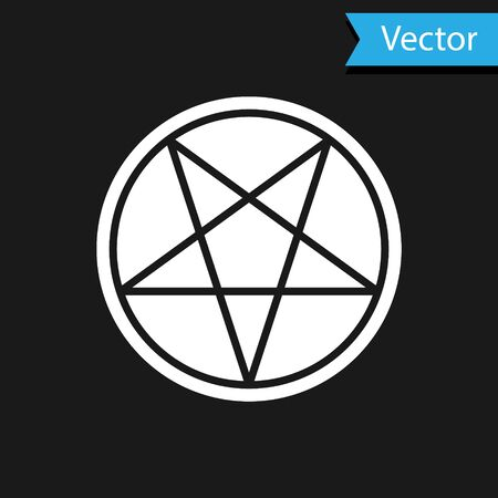 White Pentagram in a circle icon isolated on black background. Magic occult star symbol. Vector Illustration