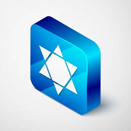 Isometric Star of David icon isolated on grey background. Jewish religion symbol. Symbol of Israel. Blue square button. Vector Illustration