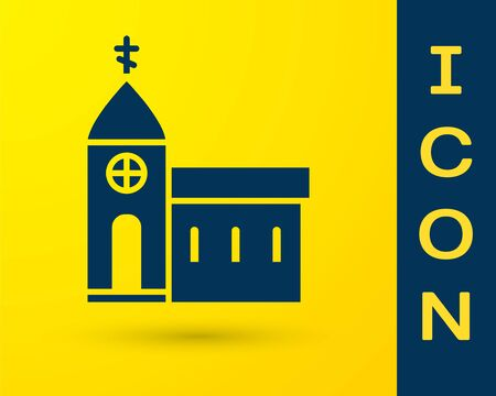 Blue Church building icon isolated on yellow background. Christian Church. Religion of church. Vector Illustration