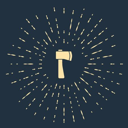 Beige Wooden axe icon isolated on blue background. Lumberjack axe. Abstract circle random dots. Vector Illustration