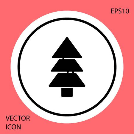 Black Tree icon isolated on red background. Forest symbol. White circle button. Vector Illustration Banque d'images - 144168312