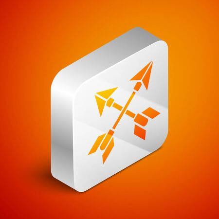 Isometric Crossed arrows icon isolated on orange background. Silver square button. Vector Illustration Çizim