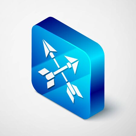 Isometric Crossed arrows icon isolated on grey background. Blue square button. Vector Illustration