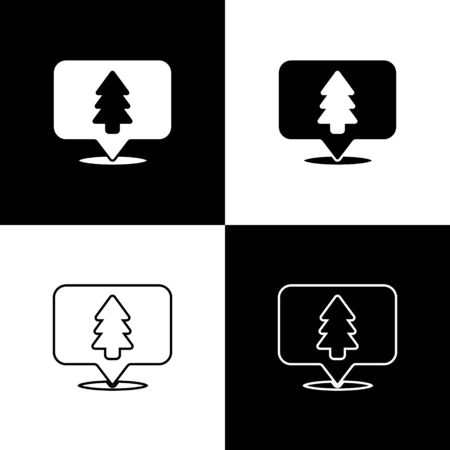 Set Location of the forest on a map icon isolated on black and white background. Vector Illustration Banque d'images - 144168633