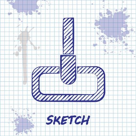 Sketch line Mop icon isolated on white background. Cleaning service concept. Vector Illustration