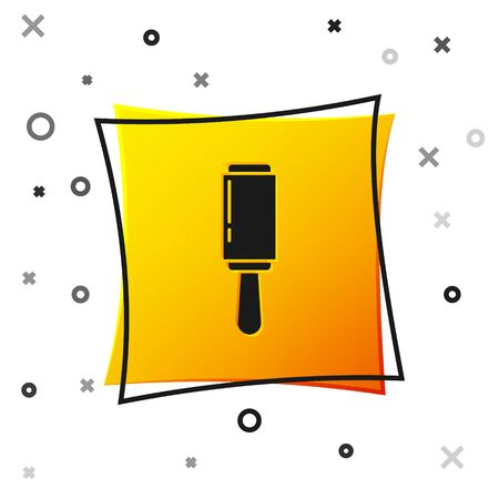 Black Adhesive roller for cleaning clothes icon isolated on white background. Getting rid of debris, dust, hair, fluff, pet wool. Yellow square button. Vector Illustration