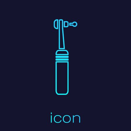 Turquoise line Tooth drill icon isolated on blue background. Dental handpiece for drilling and grinding tools. Medical instrument. Vector Illustration