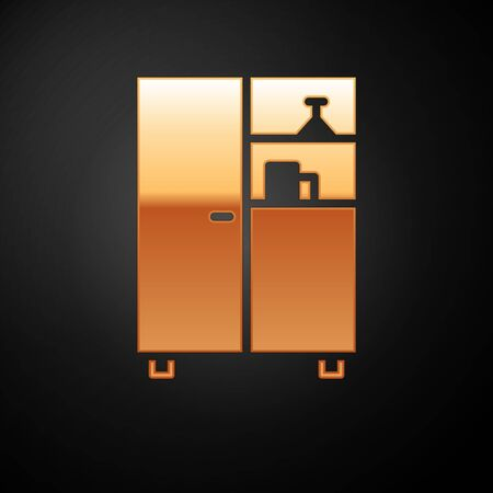 Gold Medicine cabinet icon isolated on black background. Vector Illustration