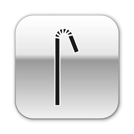 Black Drinking plastic straw icon isolated on white background. Silver square button. Vector Illustration Ilustração