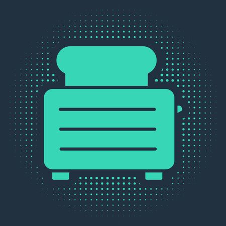 Green Toaster with toasts icon isolated on blue background. Abstract circle random dots. Vector Illustration