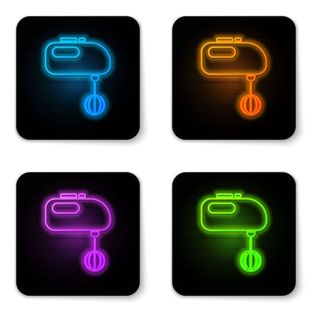 Glowing neon Electric mixer icon isolated on white background. Kitchen blender. Black square button. Vector Illustration