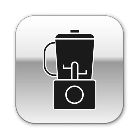 Black Blender icon isolated on white background. Kitchen electric stationary blender with bowl. Cooking smoothies, cocktail or juice. Silver square button. Vector Illustration