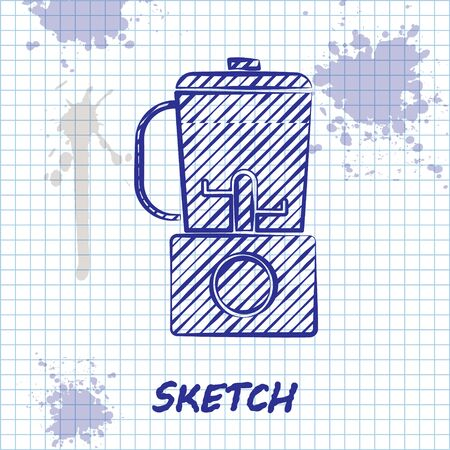Sketch line Blender icon isolated on white background. Kitchen electric stationary blender with bowl. Cooking smoothies, cocktail or juice. Vector Illustration 向量圖像