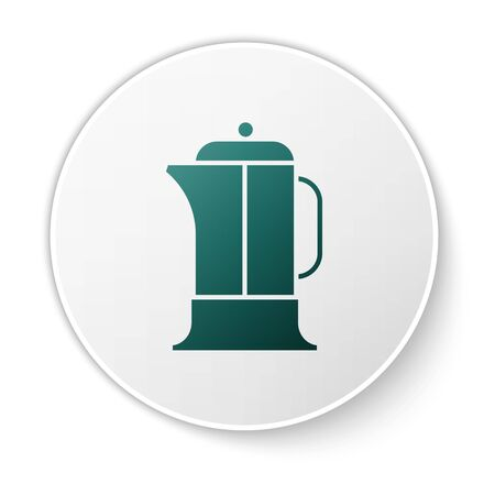 Green French press icon isolated on white background. White circle button. Vector Illustration