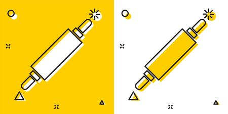 Black Rolling pin icon isolated on yellow and white background. Random dynamic shapes. Vector Illustration Vector Illustration