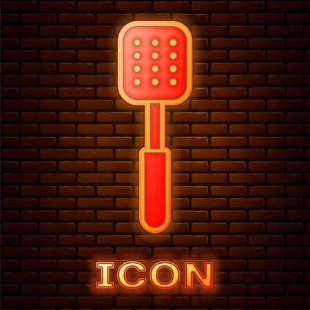 Glowing neon Spatula icon isolated on brick wall background. Kitchen spatula icon. BBQ spatula sign. Barbecue and grill tool. Vector Illustration