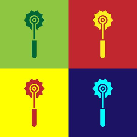 Pop art Pizza knife icon isolated on color background. Pizza cutter sign. Steel kitchenware equipment. Vector Illustration