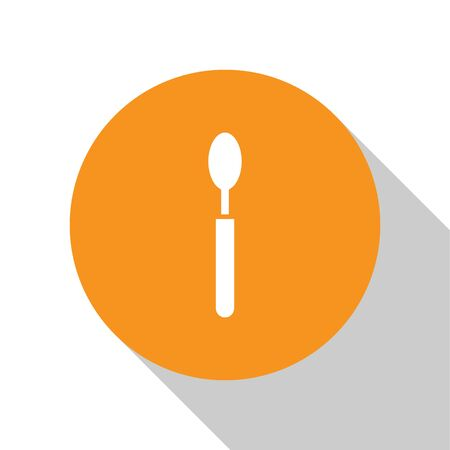 White Spoon icon isolated on white background. Cooking utensil. Cutlery sign. Orange circle button. Vector Illustration
