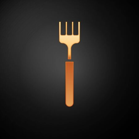 Gold Fork icon isolated on black background. Cutlery symbol. Vector Illustration