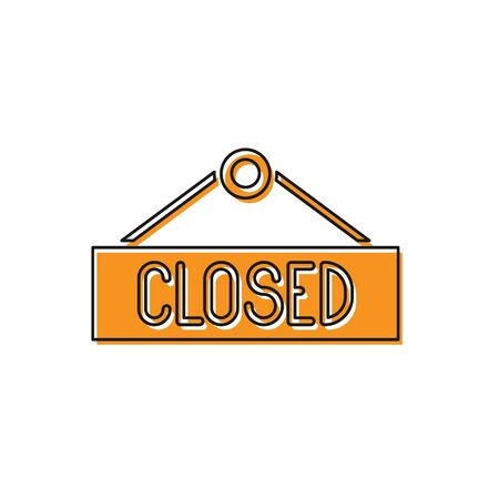 Orange Hanging sign with text Closed icon isolated on white background. Business theme for cafe or restaurant. Vector Illustration