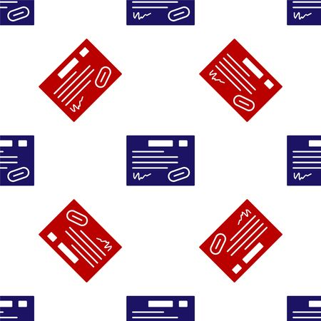 Blue and red Warranty certificate template icon isolated seamless pattern on white background. Vector Illustration Ilustrace