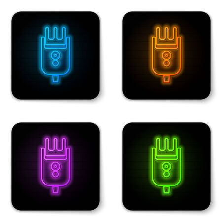 Glowing neon Electrical hair clipper or shaver icon isolated on white background. Barbershop symbol. Black square button. Vector Illustration
